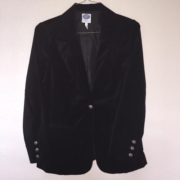 Black Velvet Blazer embellished with gold buttons ~ Don Caster label vintage